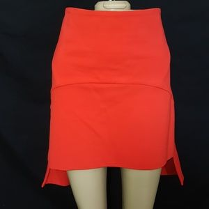 Givenchy Red Mullet Skirt L Hi-Lo Mini Authentic
